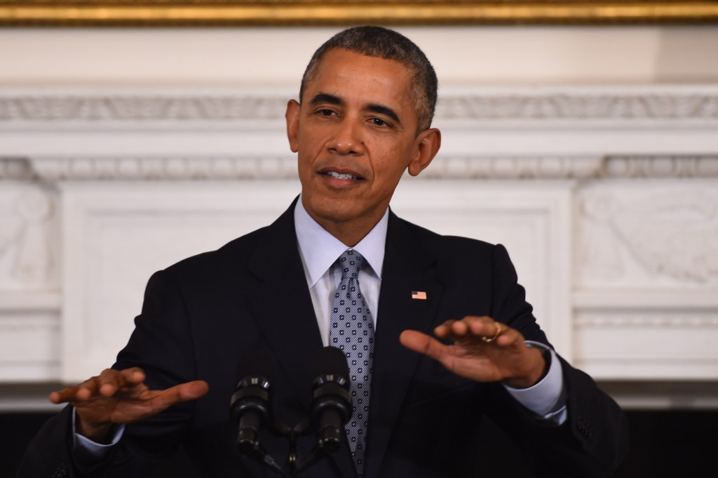 "US President Barack Obama speaks during a press conference at the White House on October 2, 2015, in Washington, DC. Obama warned Friday that Russia's military engagement in Syria in support of strongman Bashar al-Assad is a ""recipe for disaster,"" though Washington could still work with Moscow on reducing tensions.    AFP PHOTO/JIM WATSON        (Photo credit should read JIM WATSON/AFP/Getty Images)"