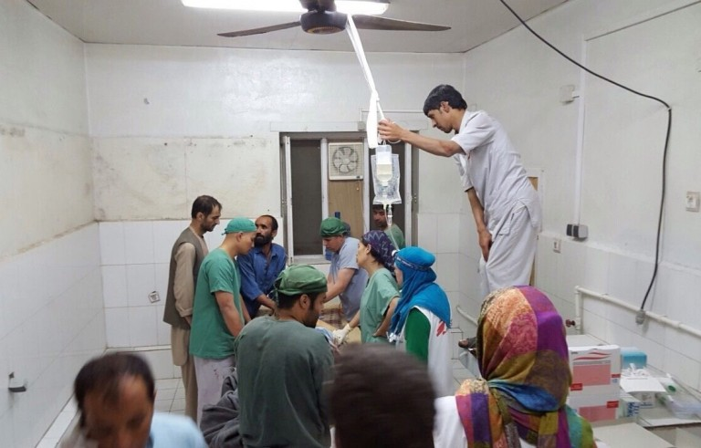 Doctors Without Borders, MSF, staff are seen during a surgery after a U.S. airstrike on MSF hospital in Kunduz, Afghanistan on Oct. 3, 2015. A top U.S. general said Tuesday that the U.S. strike, which killed 22 people Saturday morning, was a mistake. Photo by MSF/Pool/Anadolu Agency/Getty Images