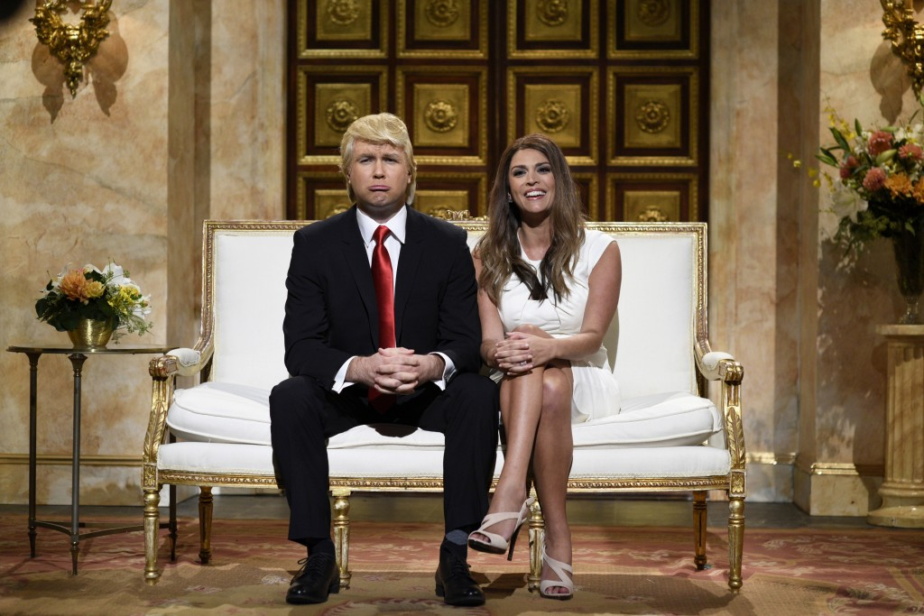 The real Donald Trump, seen here portrayed by Saturday Night Live's Taran Killam with Cecily Strong as Melania Trump, will host the NBC show in November. Photo by Dana Edelson/NBC/NBCU Photo Bank