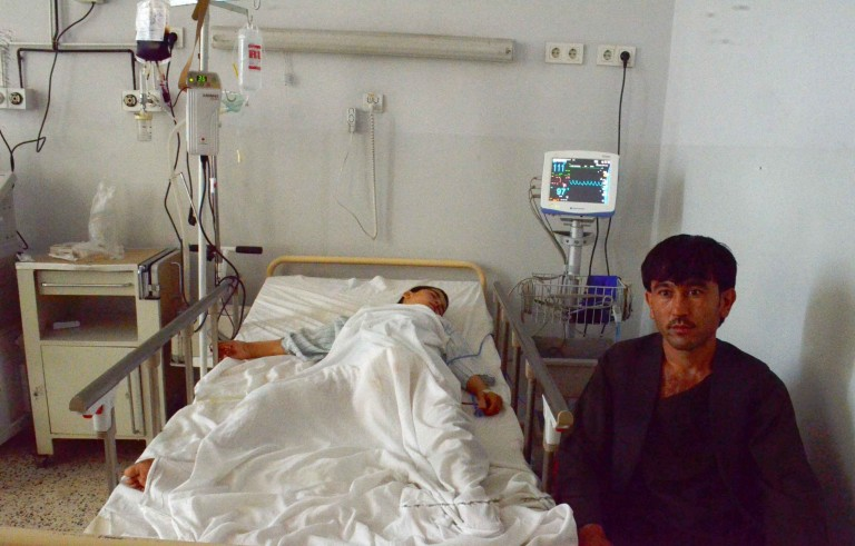 BALKH, AFGHANISTAN - OCTOBER 04: A victim of the U.S. Airstrike on Doctors Without Borders Hospital in Kunduz, receives treatment at the Mazar-e-Sharif Regional Hospital in Balkh, Afghanistan on October 04, 2015. An Afghan health official said a U.S. air strike early Saturday morning in the northern city of Kunduz has killed and wounded dozens of people. (Photo by Sayed Khodaberdi Sadat/Anadolu Agency/Getty Images)