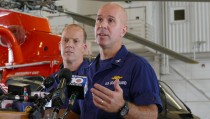 U.S.C.G. Cpt. Mark Fedor, right, and Lt. Cmd. Gabe Somma brief the media on the search for survivors of the cargo ship El Faro that sank during Hurricane Joaquin at the Coast Guard Station at the Opa Locka Airport on Monday, Oct. 5, 2015. (Walter Michot/Miami Herald/TNS via Getty Images)