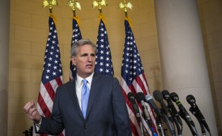 House Majority Leader Kevin McCarthy, a Republican from California, prepares to speak to the media on Capitol Hill in Washington, D.C., U.S., on Thursday, Oct. 8, 2015. McCarthy dropped out of the race for U.S. House speaker on the day his party was poised to nominate him to replace John Boehner, as an internal Republican feud erupted into open warfare on Capitol Hill. Photographer: Drew Angerer/Bloomberg via Getty Images