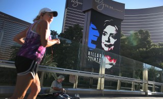 A billboard showing a picture of Democratic Presidential candidate Hillary Clinton advertising the Tuesday's Democratic Presidential debate at the Wynn Las Vegas resort and casino in Las Vegas, Nevada. This is the first debate for the Democratic presidential contenders. Photo by Joe Raedle/Getty Images