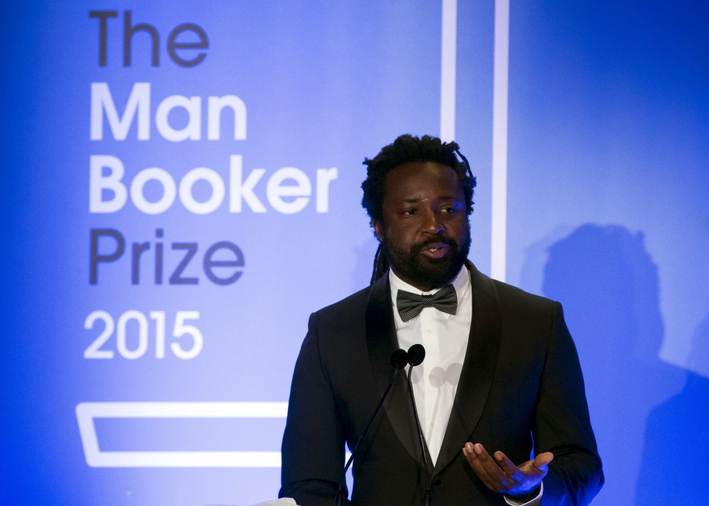 "Marlon James, winning author of ""A Brief History of Severn Killings"" speaks at the ceremony for the Man Booker Prize for Fiction 2015 at The Guildhall.  (Photo by Neil Hall - WPA Pool /Getty Images)"