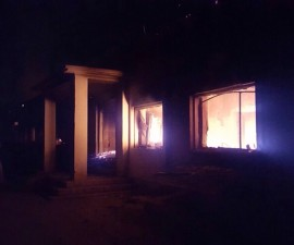A hospital operated by Doctors Without Borders on fire after it was hit in an airstrike, October 3, 2015. U.S. forces appear to have carried out the airstrike, which killed at least 19 people. Photo via Doctors Without Borders.