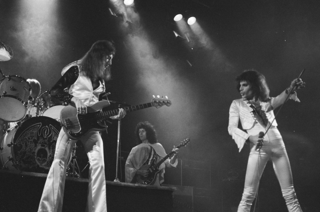 """The band's historic  concert at the Hammersmith Odeon (now the Eventim Apollo) in 1975, when they played """"Bohemian Rhapsody"""" live for the first time. Image courtesy of Queen Productions Ltd."""