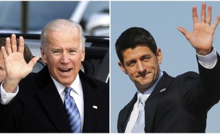 A combination photograph shows U.S. Vice President Joe Biden waving as he arrives with his family to vote in Greenville, Delaware, and Republican vice-presidential nominee Paul Ryan waving as he walk off campaign plane in Cleveland, Ohio respectively on election day, November 6, 2012.    REUTERS/Kevin Lamarque (Biden), Brian Snyder (Ryan)  (UNITED STATES - - Tags: POLITICS ELECTIONS USA PRESIDENTIAL ELECTION) - RTR3A2TT
