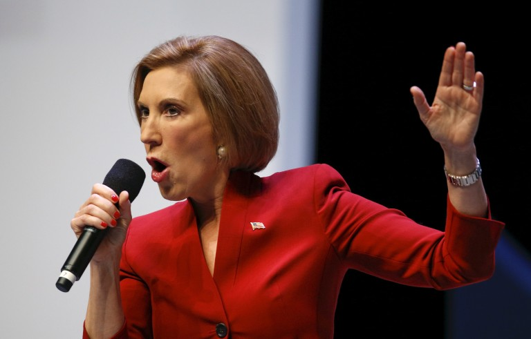 Republican presidential candidate and former Hewlett-Packard CEO Carly Fiorina speaks at a forum in Greenville, South Carolina, September 18, 2015. Fiorina, who is making opposition to Planned Parenthood a centerpiece of her campaign, has repeated an erroneous description of videos secretly recorded by anti-abortion activists. Photo by Chris Keane/Reuters