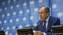 Russian Foreign Minister Sergei Lavrov addresses the media during the United Nations General Assembly at the United Nations in Manhattan, New York, October 1, 2015. Russia and the United States faced off at the United Nations on Wednesday over parallel air campaigns in Syria, with both sides claiming legitimacy for their actions but differing over the role of Syrian President Bashar al-Assad. Russia launched its first air strikes in Syria since the Middle Eastern country's civil war began in 2011, giving only an hour's notice to the United States, which has led a coalition of Western allies and regional states that has been flying missions there for a year. Lavrov told the Security Council that Moscow would liaise with the U.S.-led coalition, and U.S. Secretary of State John Kerry later said military-to-military talks could begin as early as Thursday. REUTERS/Andrew Kelly - RTS2M8X