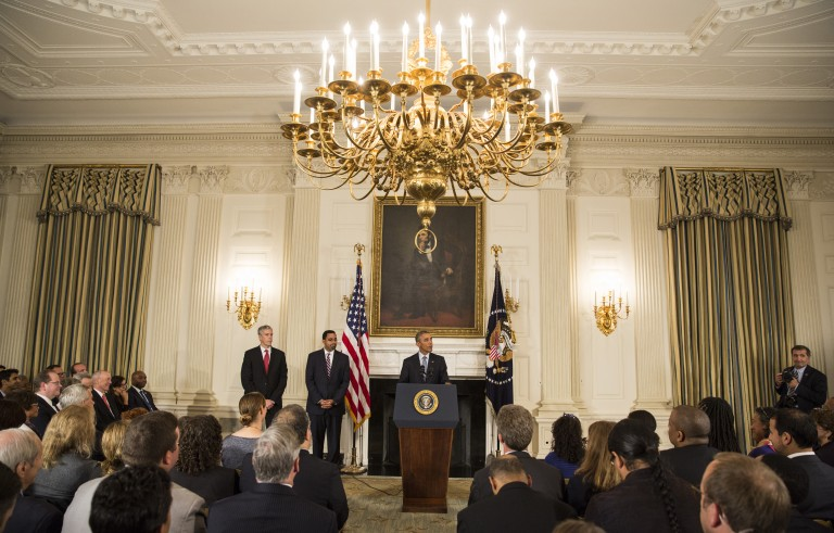 President Barack Obama speaks at a news conference in the State Dining Room of the White House, October 2, 2015. Obama rejected Russia's military involvement in Syria as a self-defeating exercise likely to move the conflict further from a solution Friday. Photo by Joshua Roberts/Reuters