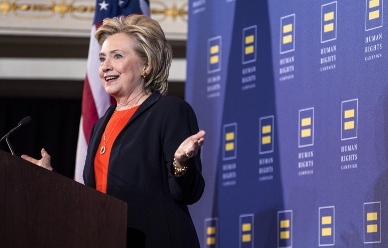 Democratic presidential candidate Hillary Clinton speaks to supporters at a Human Rights Campaign event in Washington, D.C., October 3, 2015. Clinton pledged Saturday to make LGBT rights a central pillar of her administration should she get elected. Photo by Joshua Roberts/Reuters
