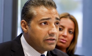 Mohamed Fahmy attends a news conference with his wife Marwa Omara, hosted by Canadian Journalists for Free Expression (CJFE) at the Ryerson University School of Journalism in Toronto October 13, 2015.   REUTERS/Fred Thornhill  - RTS4AP6