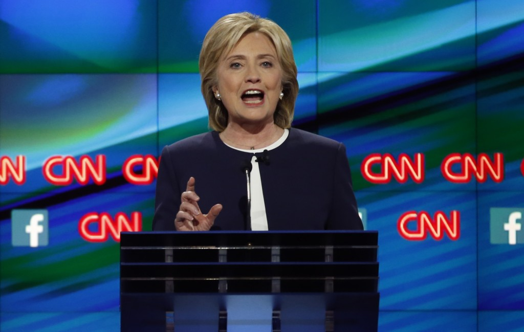 Democratic U.S. presidential candidate former Secretary of State Hillary Clinton addressed her changed position on trade at the first Democratic presidential debate. Lucy Nicholson/Reuters