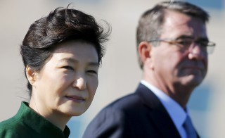 South Korea's President Park Geun-hye and U.S. Secretary of Defense Ash Carter attend a military honors arrival ceremony at the Pentagon in Washington on Oct. 15. Photo by Carlos Barria/Reuters
