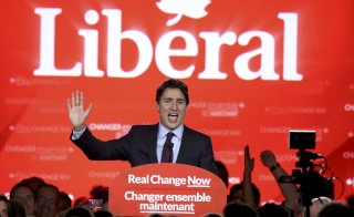 Liberal Party leader Justin Trudeau gives his victory speech after Canada's federal election in Montreal, Quebec, on Oct. 19, 2015. Photo by Chris Wattie/Reuters