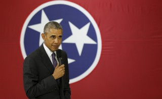 President Barack Obama speaks about the Affordable Care Act during a visit to Nashville,  Tennessee, this summer. The federal penalty for having no health insurance is set to jump to $695 in 2016. Photo by Kevin Lamarque/Reuters