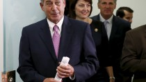 """Outgoing Speaker of the House John Boehner (R-OH) (L) enters a news conference on the two-year budget deal with the White House in Washington, October 27, 2015. A two-year budget deal negotiated by the White House and U.S. congressional leaders will be rushed to the floor of the House of Representatives on Wednesday as lawmakers try to pass controversial measures before House Speaker John Boehner retires on Friday. """"We have a budget agreement,"""" Boehner said Tuesday. """" He said he wanted to clear the decks for Rep. Paul Ryan who is expected to become the next Speaker of the House. """"As I made it clear a month ago when I announced that I was leaving that I wanted to do my best to clean the barn. I didn't want him to walk into a dirty barn full of you know what,"""" Boehner said. REUTERS/Gary Cameron - RTX1TGRU"""