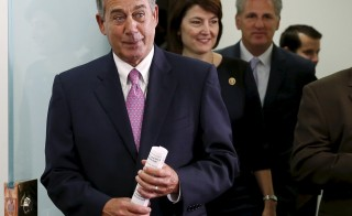 "Outgoing Speaker of the House John Boehner (R-OH) (L) enters a news conference on the two-year budget deal with the White House in Washington, October 27, 2015. A two-year budget deal negotiated by the White House and U.S. congressional leaders will be rushed to the floor of the House of Representatives on Wednesday as lawmakers try to pass controversial measures before House Speaker John Boehner retires on Friday. ""We have a budget agreement,"" Boehner said Tuesday. "" He said he wanted to clear the decks for Rep. Paul Ryan who is expected to become the next Speaker of the House. ""As I made it clear a month ago when I announced that I was leaving that I wanted to do my best to clean the barn. I didn't want him to walk into a dirty barn full of you know what,"" Boehner said. REUTERS/Gary Cameron - RTX1TGRU"