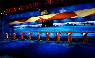 The podiums for Republican presidential candidates debate are seen on stage in Boulder, Colorado on Oct. 27, 2015. Photo by Rick Wilking/Reuters