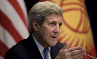 U.S. Secretary of State John Kerry speaks during a news conference at the Ala Archa compound in Bishkek October 31, 2015. REUTERS/Brendan Smialowski/Pool  - RTX1U3HA