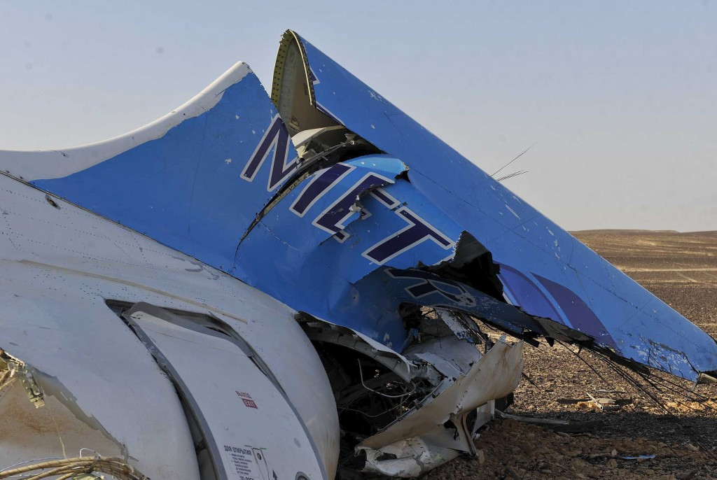The remains of a Russian airliner are seen in central Sinai near the city of Arish, north Egypt. The Airbus A321, carrying 224 passengers and crew, crashed into a mountainous area of Egypt's Sinai Peninsula on Saturday, killing all aboard. Photo by Retuers