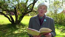 "Poet Ellen Bryant Voigt reads her poem ""Apple Tree."" Photo by Mary Jo Brooks"