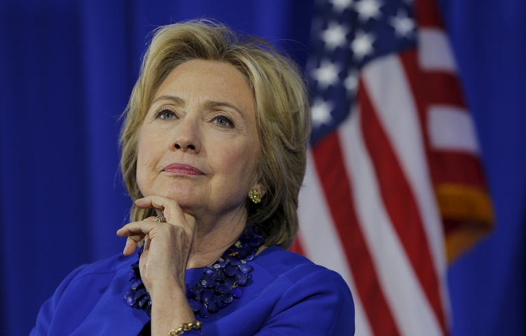 U.S. Democratic presidential candidate Hillary Clinton listens during the Boston Community Forum on Substance Abuse in Boston, Massachusetts October 1, 2015. REUTERS/Brian Snyder