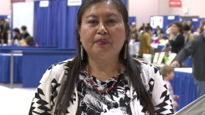 Poet Lisa Yankton at the 2015 AWP Conference and Bookfair in Minneapolis. Photo by Victoria Fleischer