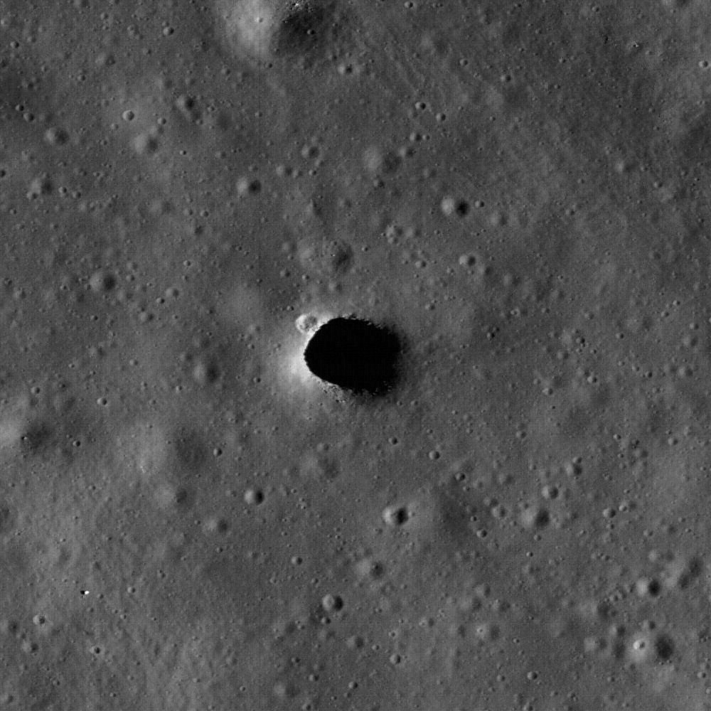 This pit in the Moon's Marius Hills is big enough to fit the White House completely inside. Photo by NASA/Arizona State University