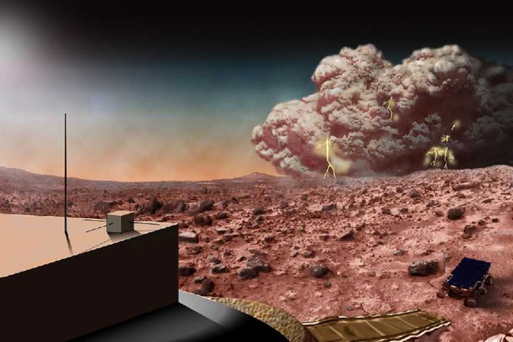 This artists concept illustrates a Martian dust storm, which might also crackle with electricity. Photo by NASA