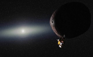 Artist's impression of NASA's New Horizons spacecraft encountering a Pluto-like object in the distant Kuiper Belt. If NASA approves a proposal to extend New Horizons' mission by 2016, the spacecraft would reach an object named 2014 MU69 in the far reaches of the solar system by 2019. Image courtesy of Alex Parker/NASA/JHUAPL/SwRI