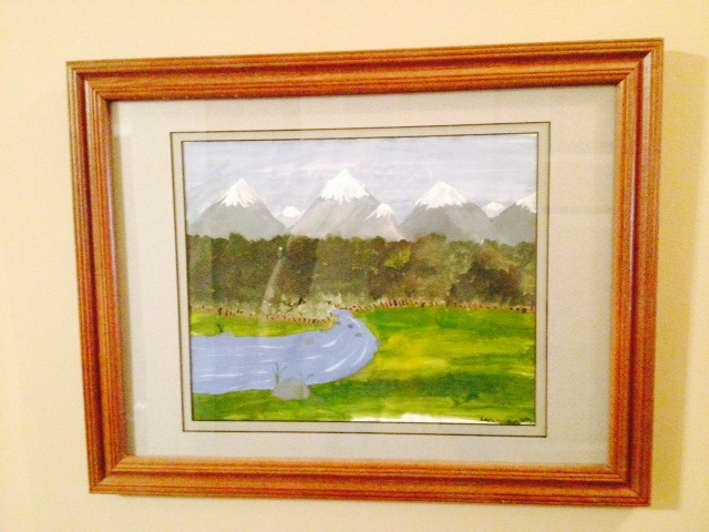 Like many people, Bob Ross inspired the author at age 9 to paint this landscape that hangs in her mother's home. Photo courtesy of Deborah Houston