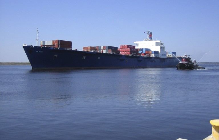 The El Faro ship is shown in this undated handout photo provided by Tote Maritime in Jacksonville, Florida, October 2, 2015. The U.S. Coast Guard said the 790-foot cargo ship sank after being caught in powerful storms from Hurricane Joaquin near Crooked Island, Bahamas. Image courtesy of Tote Maritime/Handout via Reuters