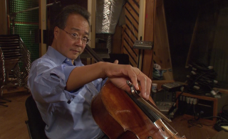 Yo-Yo Ma performs a song for the NewsHour.