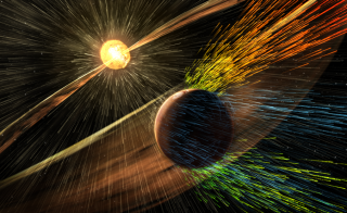 Artist's rendering of a solar storm hitting Mars and stripping ions from the planet's upper atmosphere. Photo by NASA/GSFC