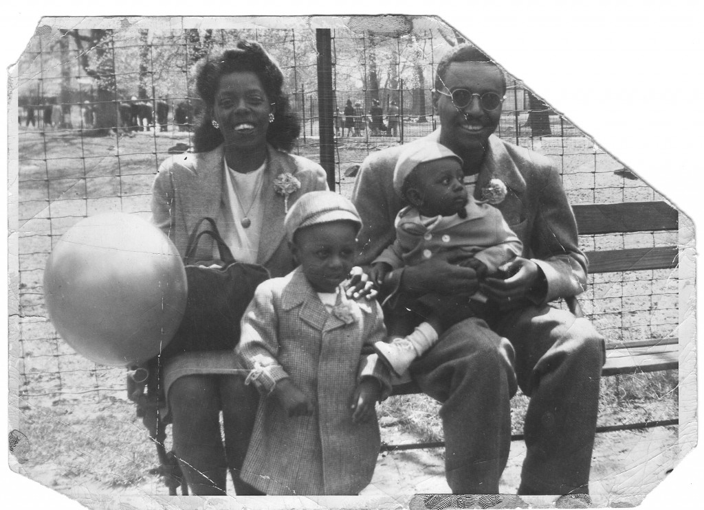 Dorothy and Boyd Mallett with Ron on the left and his younger brother, James, on the right, at the Bronx Park in 1948. Courtesy of Ronald Mallett