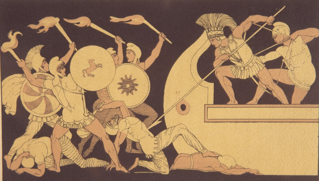 Scene from the Iliad - The Trojan War, engraving in style of Greek vase painting, 19th century