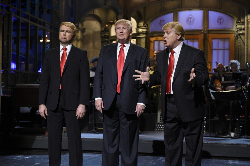 Saturday Night Live's Taran Killam and Darrell Hammond flank GOP presidential candidate Donald Trump during Trump's monologue on Nov. 7. Photo by Dana Edelson/NBC/NBCU Photo Bank via Getty Images