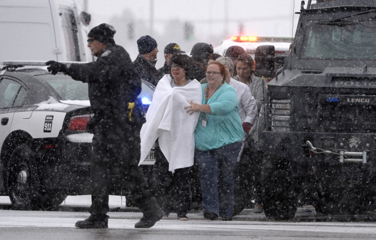 COLORADO SPRINGS, CO - NOVEMBER 27: People are rescued near the scene of a shooting at the Planned Parenthood clinic in Colorado Springs Friday November 27, 2015. (Photo by Andy Cross/The Denver Post via Getty Images)