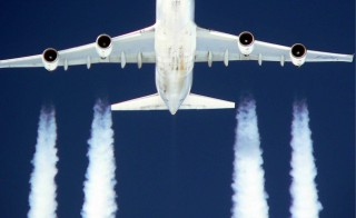 Emissions from Boeing B 747 (pictured) contain a mixture of pollutants (carbon dioxide, carbon monoxide, nitrogen oxides, methane, sulfates), soot and water vapor. The latter forms icy contrail clouds. Photo by JOKER/Hady Khandani/ullstein bild via Getty Images)