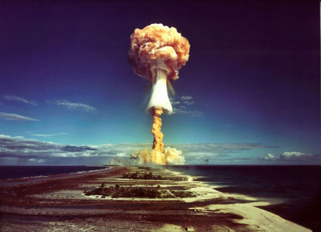 A mushroom cloud after the explosion of a French atomic bomb above the atoll of Mururoa, 1971. Photo by Galerie Bilderwelt/Getty Images