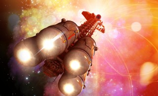 Space craft in outer space. Illustration by Victor Habbick Visions/Science Photo library