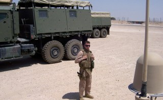 Captain Chris Lusto, United States Marine Corps, Al Taqaddum Air Base in Iraq, 2006. Photo credit: Christopher Stolicker