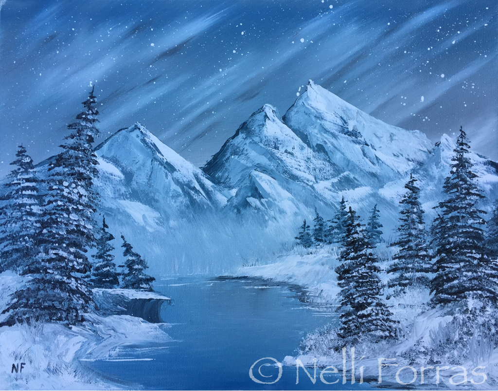 Viewer Nelli Forras submitted her oil painting of mountains set against a star-lit sky for the PBS NewsHour's #BobRossChallenge. Photo courtesy of Nelli Forras.