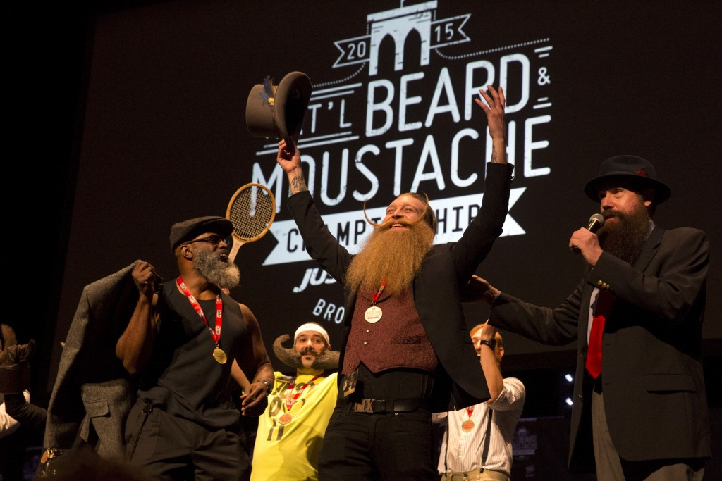Scott Metts from Orlando, Florida, celebrates after winning the 2015 Just For Men National Beard & Moustache Championships on November 7, 2015. Photo by Elizabeth Shafiroff/Reuters