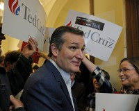Republican presidential candidate Ted Cruz greets supporters in Concord, New Hampshire, Nov. 12, 2015. Cruz has moderated his normally-strident rhetoric recently in an attempt to cast himself as an electable alternative to Donald Trump and Ben Carson, the current GOP front-runners. Photo by Brian Snyder/Reuters