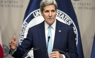 Secretary of State John Kerry delivers remarks on the U.S. strategy in Syria at the U.S. Institute of Peace in Washington, D.C., on Nov. 12. Photo by Joshua Roberts/Reuters