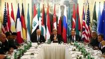 Russia's Foreign Minister Sergei Lavrov (center R), U.S. Secretary of State John Kerry (C) and foreign ministers attend a meeting in Vienna, Austria, November 14, 2015. World and regional powers, including officials from Iran, Russia, Saudi Arabia, Turkey and Europe are meeting in Vienna on Saturday in a bid to step up diplomatic efforts to end the four-year-old conflict in Syria.  Photo by Leonhard Foeger/Reuters