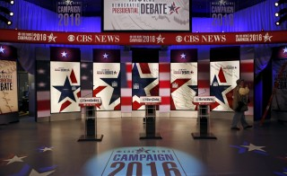 A general view shows the stage for the debate for the 2016 Democratic presidential candidates at Drake University in Des Moines, Iowa, United States, November 14, 2015. Photo by Jim Young/Reuters