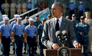 U.S. President Barack Obama delivers remarks after touring the BRP Gregorio Del Pilar at Manila Harbor in Manila, Philippines on Nov. 17, 2015. The ship served as a U.S. Coast Guard cutter until 2011, when it was purchased by the Philippine Navy upon its decommission. Photo by Jonathan Ernst/Reuters